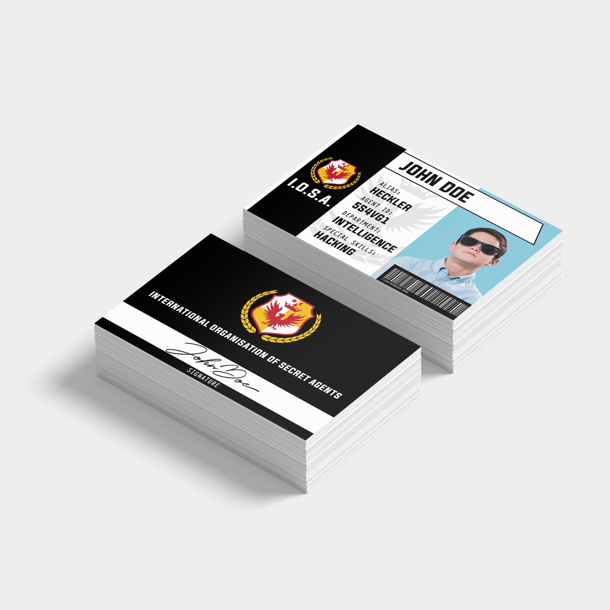 Secret Agent Namecards (85 x 55mm) - $16.00/ box of 100 cards